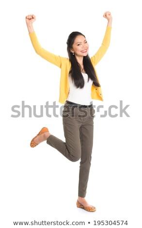 délkelet · ázsiai · női · egészalakos · mosolyog · fehér - stock fotó © szefei