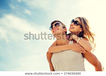 пару праздник пейзаж волос друзей Сток-фото © photography33