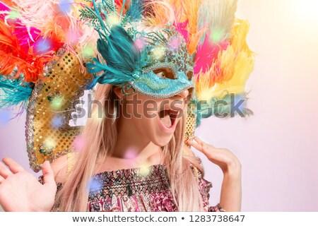 mask beauty woman wearing carnival mask stock photo © maridav
