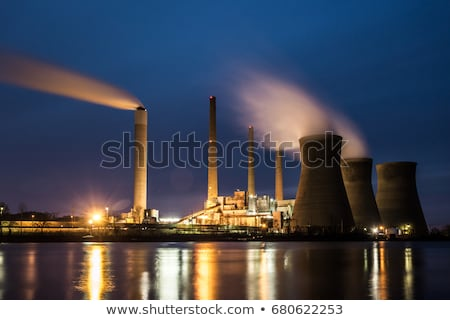 Kövület elektromos erőmű természet energia felhő növény Stock fotó © vaeenma