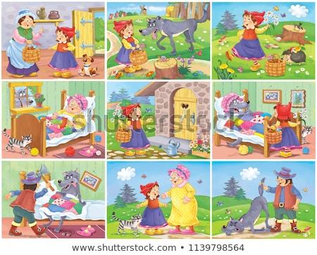 Сток-фото: Little Red Riding Hood Funny Cartoon