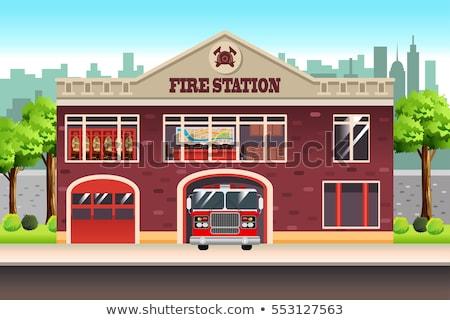 brandweerman · instructies · team · vrouw · vergadering · praten - stockfoto © arenacreative