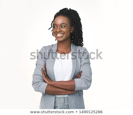 Sorridente empresária isolado branco retrato jovem Foto stock © stepstock