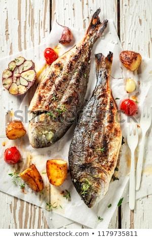 finom · tengeri · hal · szabadtér · étel · BBQ · grillezett - stock fotó © kuzeytac