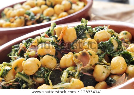 spanish espinacas con garbanzos spinach with chickpeas served stock photo © nito
