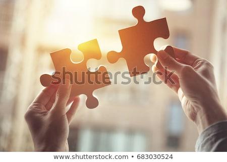 adoção · azul · quebra-cabeça · branco · recepção · conceito - foto stock © tashatuvango