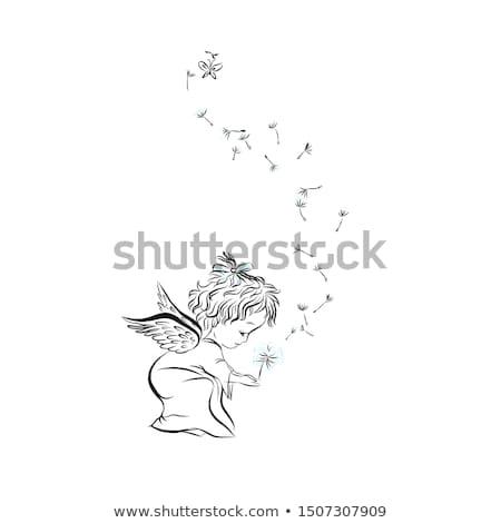 Peu doodle ange vecteur fichier Photo stock © kidesign