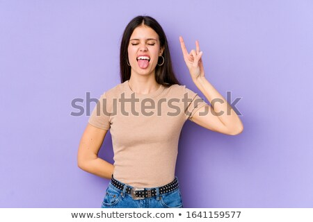 рок · катиться · жест · женщины · стороны · изолированный - Сток-фото © stockyimages