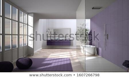 Foto stock: Roxo · banheiro · luxo · flores · vaso