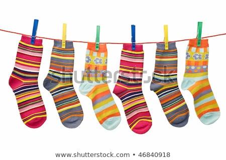 çorap yıkama hat pantolon gökyüzü arka plan Stok fotoğraf © rogerashford