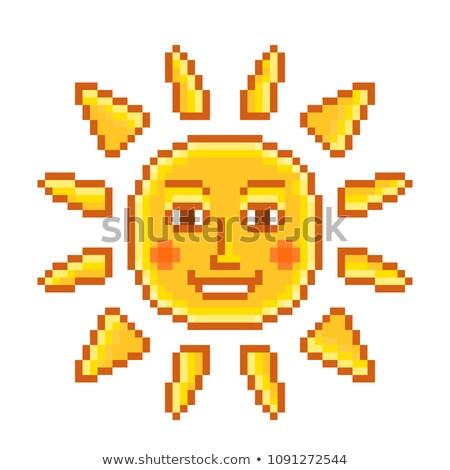 Sun tan logo- A face with a bright yellow sun Stock photo © shawlinmohd