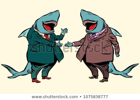 サメ · 攻撃 · 白 · スイマー · 3dのレンダリング - ストックフォト © lightsource