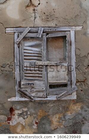 Blauw · houten · venster · oude · steen - stockfoto © nejron