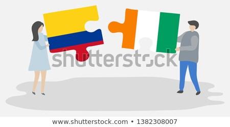 Colombia Elefántcsontpart zászlók puzzle izolált fehér Stock fotó © Istanbul2009
