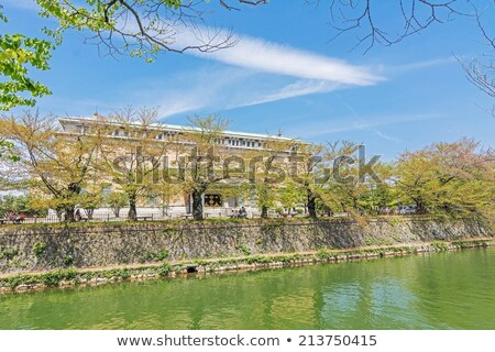 Emerald green cherry trees and Kyoto Municipal Museum Stock photo © elwynn