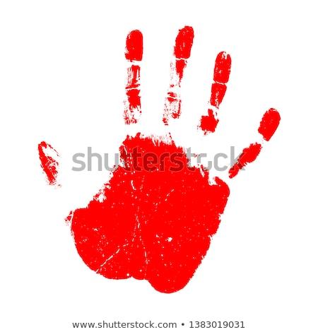 Red handprint on white Stock photo © gemenacom