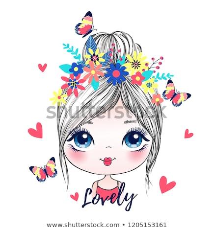sevimli · kız · çiçek · mutlu · kız · çocuk - stok fotoğraf © nyul