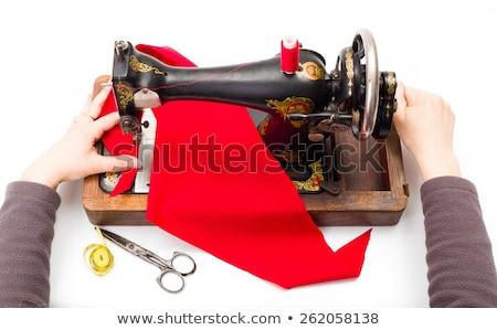 Velho máquina de costura mulher mão madeira trabalhar Foto stock © erierika