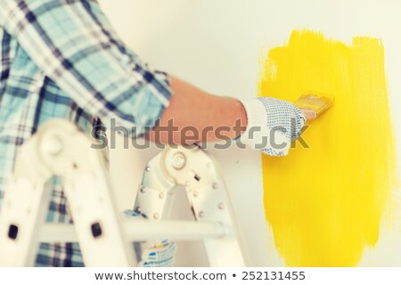 close up of male in gloves holding paintbrush Stock photo © dolgachov