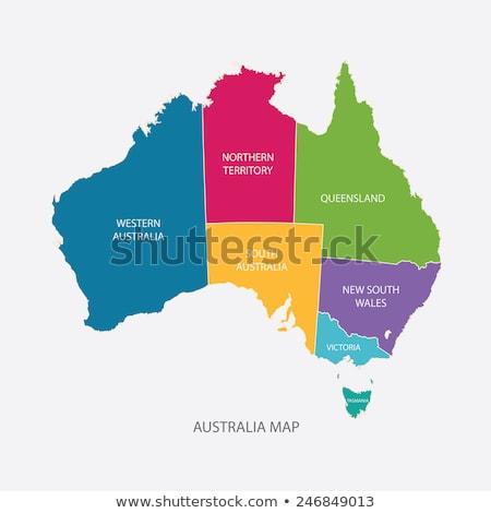Avustralya · bayrak · harita · siluet · örnek · yeni · güney · galler - stok fotoğraf © mayboro1964