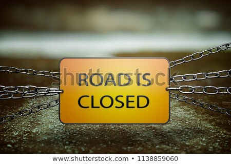 End Grunge Yellow Warning Sign on Chainlink Fence Stock photo © stevanovicigor