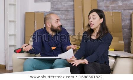 Pár bútor boldog fiatal pér együtt mozgás Stock fotó © HASLOO