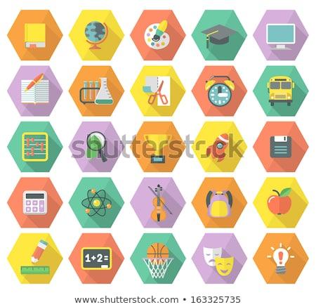 Oktatás modern szimbólumok tarka hosszú árnyékok Stock fotó © vectorikart