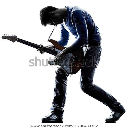 Stock fotó: Gitáros · izolált · fehér · zene · buli · gitár