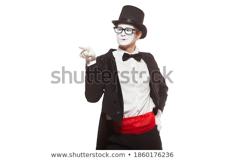 Portrait of mime with pointing finger Stock photo © master1305