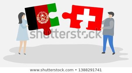 İsviçre Afganistan bayraklar bilmece yalıtılmış beyaz Stok fotoğraf © Istanbul2009