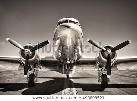 пропеллер двигатель Vintage самолет войны синий Сток-фото © Zhukow