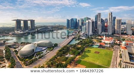 Singapore · skyline · avond · jachthaven · hemel · water - stockfoto © elnur