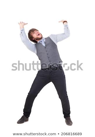 Stock photo: Business man push something up