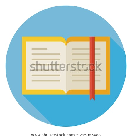 Stock photo: Flat Book with Bookmark Circle Icon with Long Shadow