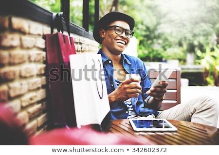 fraco · palavras · mulher · de · negócios · homem · mãos - foto stock © fuzzbones0
