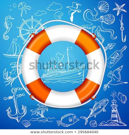 Hand-drawn elements of marine theme with orange life buoy Stock photo © netkov1