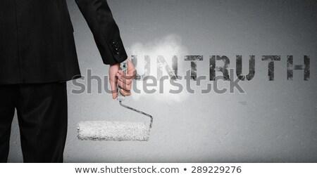 bizalom · szó · üzletember · mutat · kéz · férfi - stock fotó © fuzzbones0