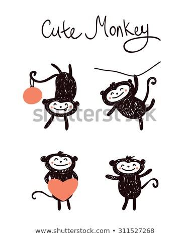 macaco · chinês · horóscopo · assinar · desenho · animado · ilustração - foto stock © netkov1