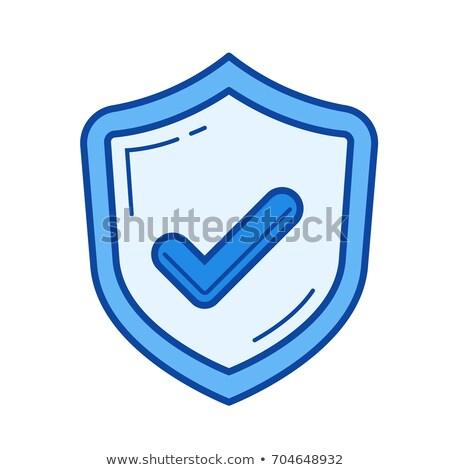shield sign blue vector icon design stock photo © rizwanali3d
