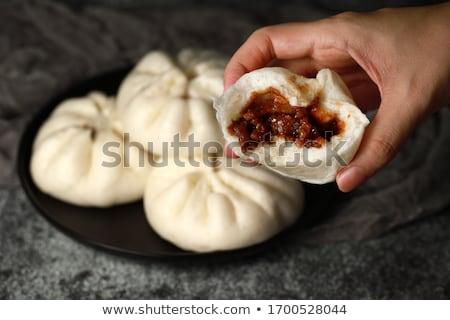 dim · sum · tányér · sötét · háttér · kenyér · hús - stock fotó © tang90246