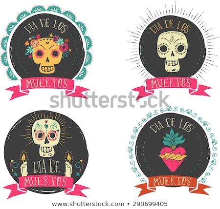 Stock photo: print - mexican sugar skull and heart set, day of the dead poster