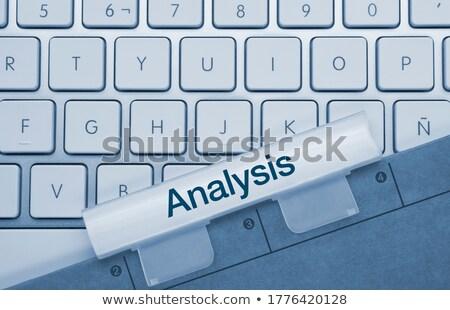 marketing · onderzoek · Blauw · toetsenbord · knop · vinger - stockfoto © tashatuvango