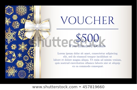 blue christmas voucher with golden snowflakes and white luxury ribbon stock photo © liliwhite