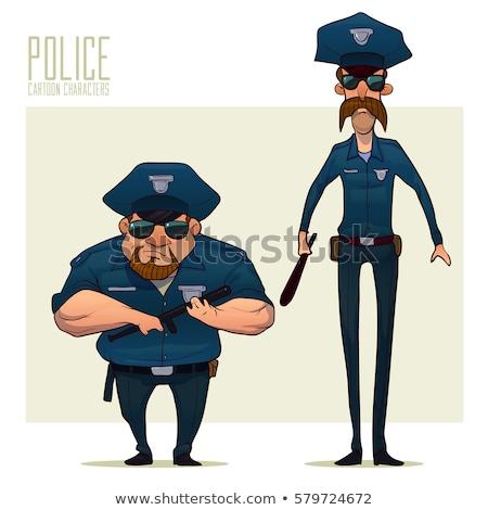 divertente · poliziotto · isolato · bianco · uomo · corpo - foto d'archivio © elnur