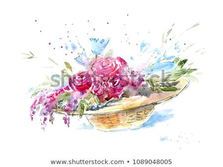 Girl straw hat spring card stock photo © marimorena