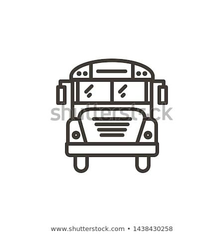 Iskolabusz vonal ikon sarkok háló mobil Stock fotó © RAStudio