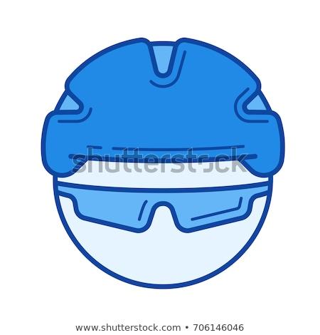 man in bicycle helmet and glasses line icon stock photo © rastudio