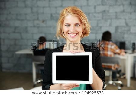 Mutlu kadın ekran yalıtılmış Stok fotoğraf © deandrobot