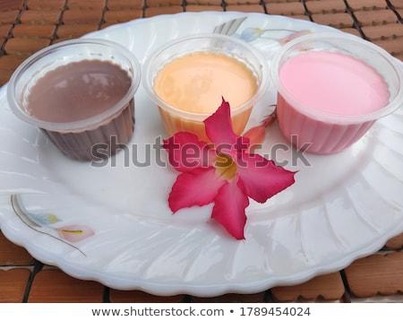kom · pudding · vanille · granaatappel · voedsel · dessert - stockfoto © digifoodstock