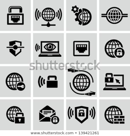 Notebook laptop pajzs internet biztonság védelem Stock fotó © fenton